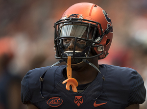 Syracuse cornerback Cordell Hudson walks off the field against No. 8 LSU.