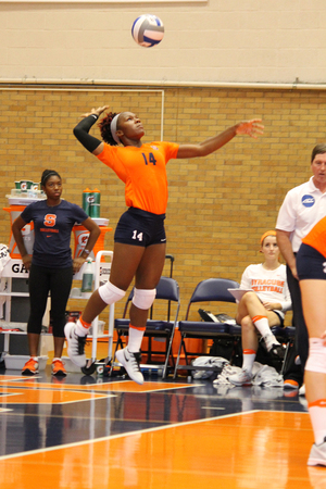 Jalissa Trotter and Syracuse are trying to improve their serving in conference play. Despite winning four conference games, the Orange has struggled with serves.