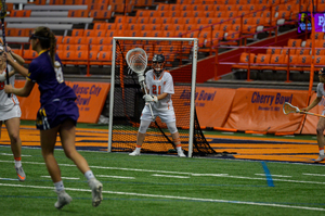 Asa Goldstock had one of her best games in goal this year, after what's been a fairly shaky freshman season, posting 12 saves against the second-best team in the country.
