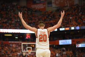 Tyler Lydon left Syracuse after two seasons to enter the NBA draft. He is projected to be selected at the end of the first of two rounds.